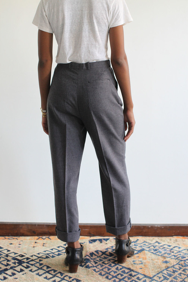 RAWSON Vintage Grey Wool High Waist Pleated Trousers