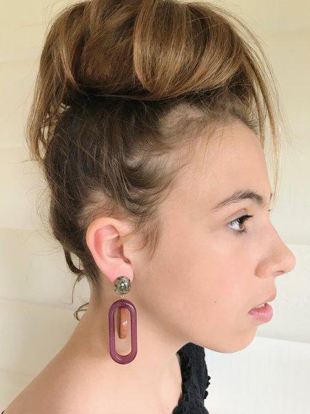 Rachel Comey Lohr Earring - Burnt Orange/Purple Marble