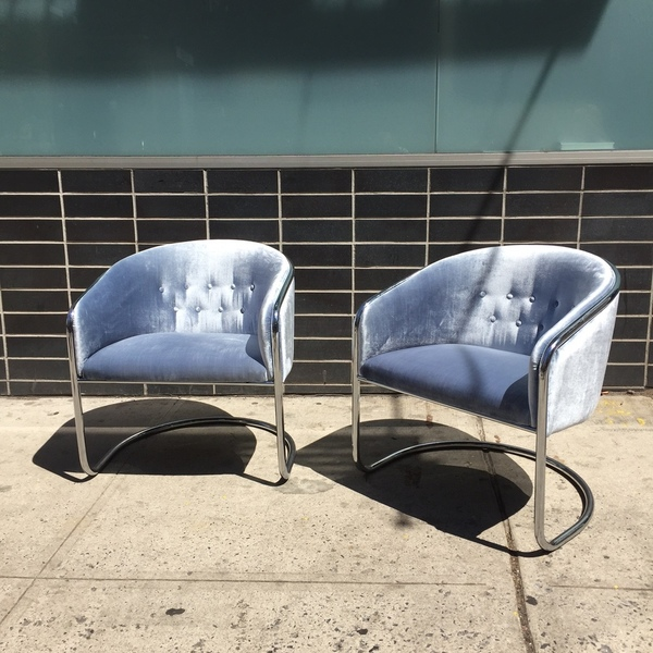 Chrome Cantilever Armchairs by Thonet