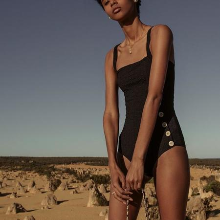 Palm Miro Button Textured 1 Piece Bodysuit - Rio Black