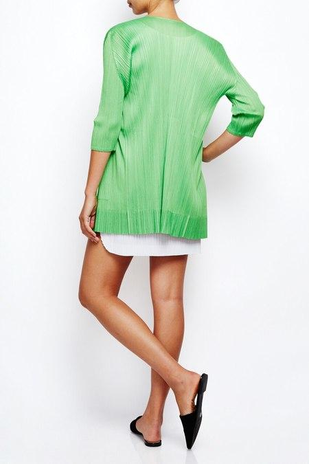 Issey Miyake Pleats long cardigan jacket with pockets - bright green