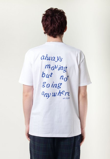 GOOD AS GOLD Always Moving But Not Going Anywhere Tshirt - White/Blue