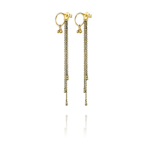 Marie Laure Chamorel Antique Earrings With Chain - Gold Fill