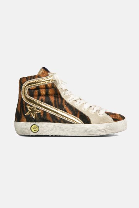 Kids  Golden Goose Slide High Top Sneaker Shoes - Leopard/Gold