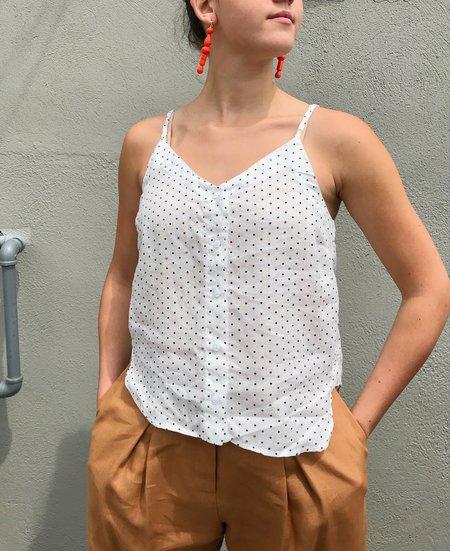 Stateside Linen Button Up Cami - Navy Dot
