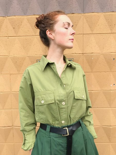Girls of Dust Deck Shirt Cotton Drill - Olive