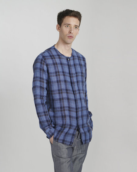 Delikatessen Italian Linen Long Sleeve Shirt - Indigo Dyed