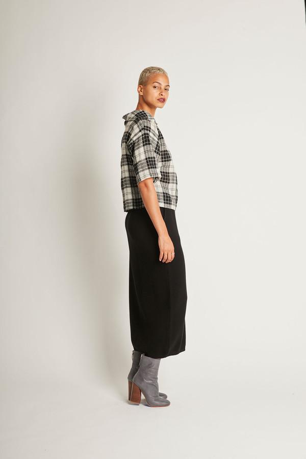 H. Fredriksson Crop Top in Black/White Plaid Wool