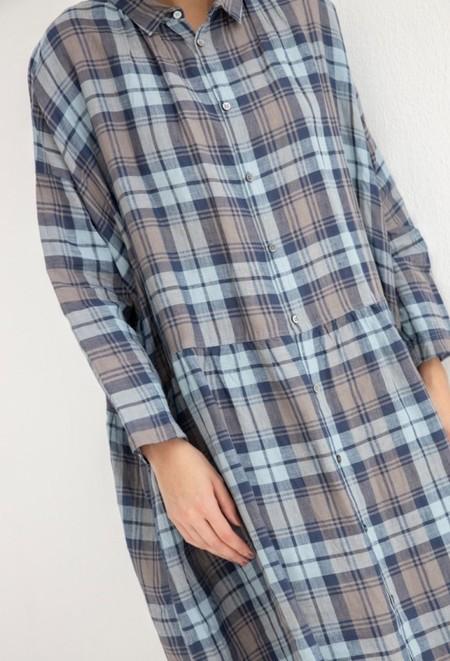 Ichi Antiquites Linen Checkered Dress - Navy