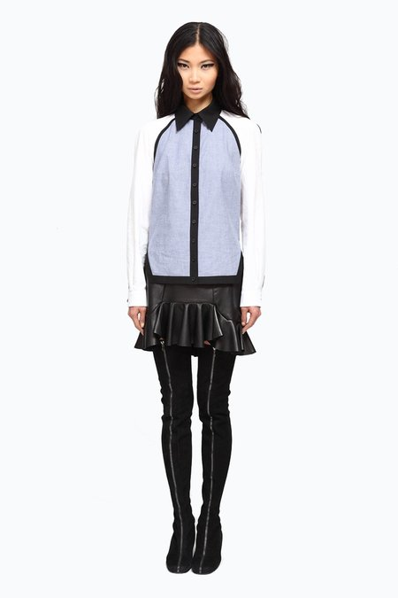 Primary New York Cotton Button Down - white/black/chambray