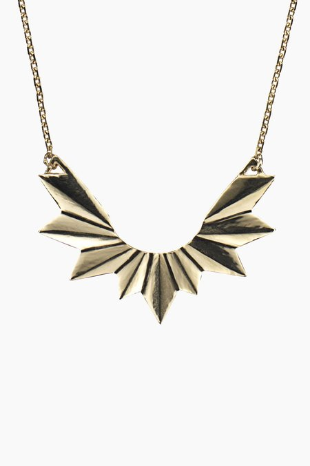 Maria Black Wing Necklace - Gold