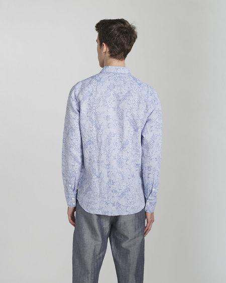 Delikatessen Feel Good Cotton Shirt - Blue Jacquard Flowers Print