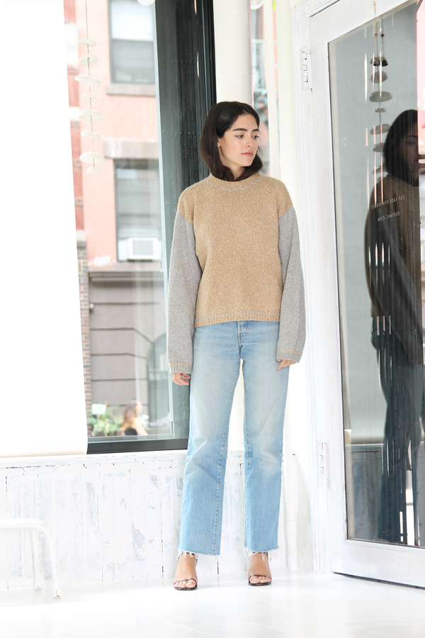 DUO NYC Vintage Color Block Knit Sweater