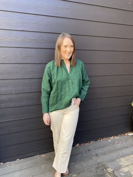 Ms MIN Linen Oversized Blouse - Forest Green