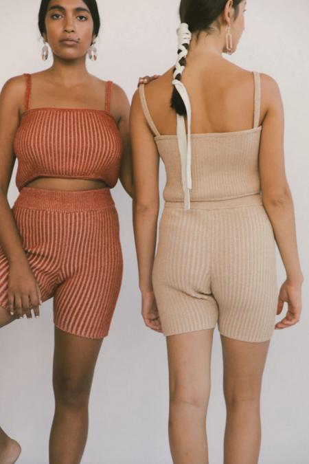 Kordal plaited Bike Shorts - Nude/Cream