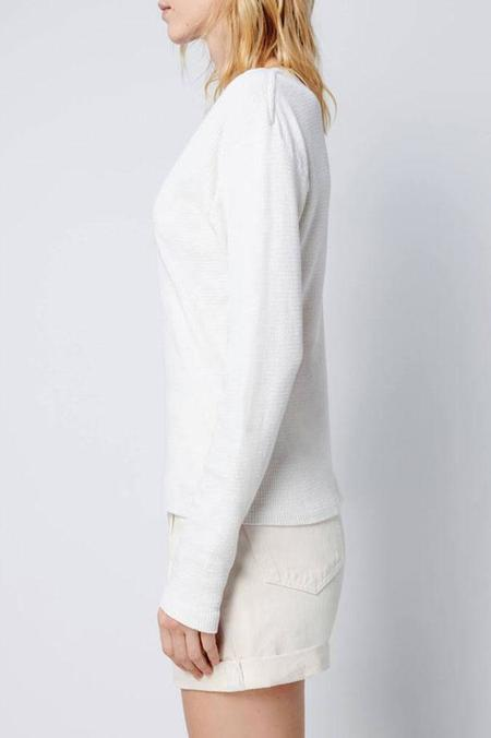 RE/DONE Henley Thermal Long Sleeve Tee - Vintage White
