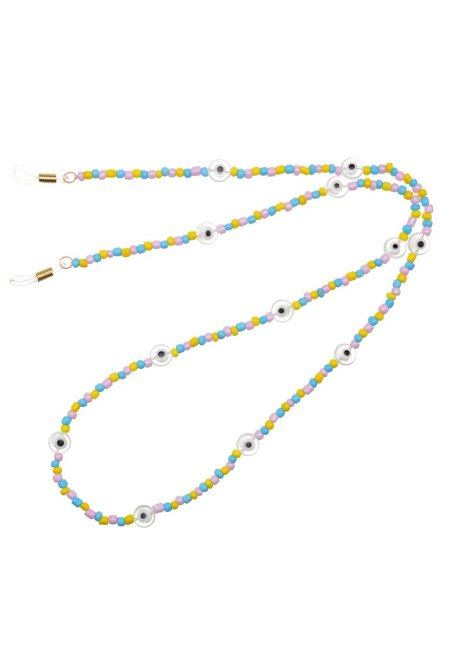 Talis Chains Candyfloss Beaded Sunglass Chain with Glazed Evil Eye Beads - 18k gold plated