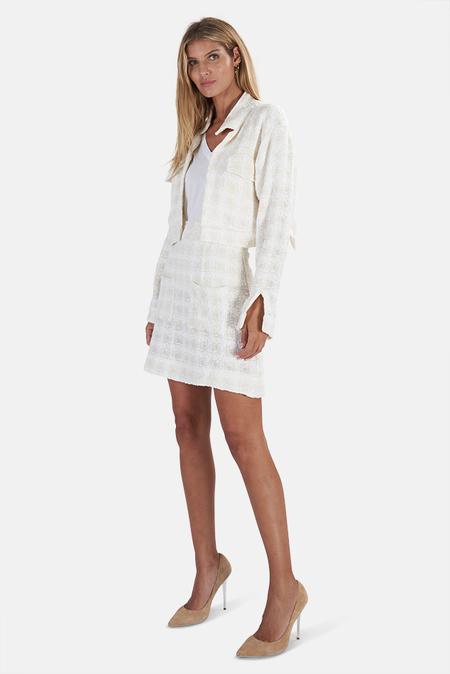 Blue&Cream Cropped Tweed Skirt - White