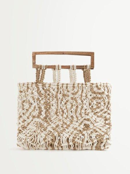 Suncoo Aime Woven Bag - Beige Chine