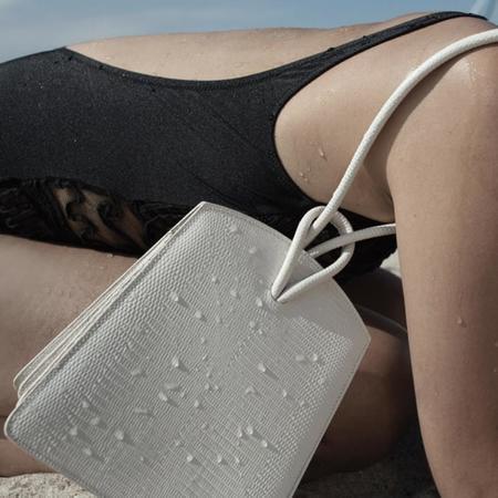 LITTLE LIFFNER Loop Lizard Embossed Calf Marble Bag - Cream