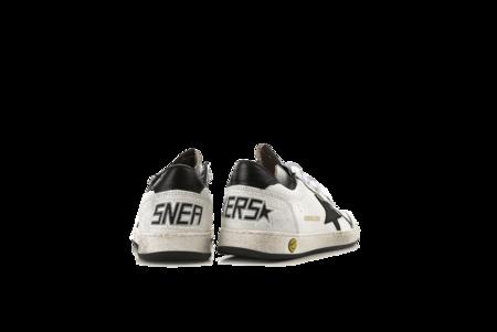 Kids Golden Goose Ball Star Sneakers - White Leather/Orange Tip