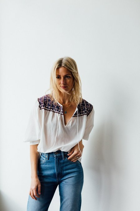 Closed Teri Embroidered Top - Ivory