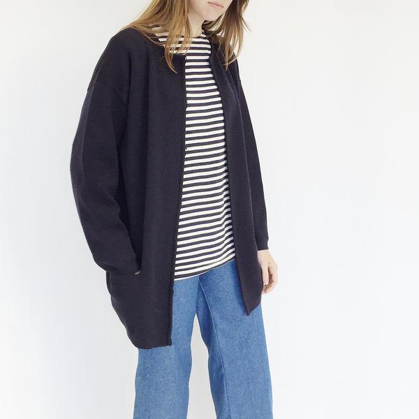 Johan Vintage Navy Wool Cardigan