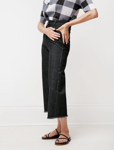 Hache Wide Leg Unfinished Jeans - Dark