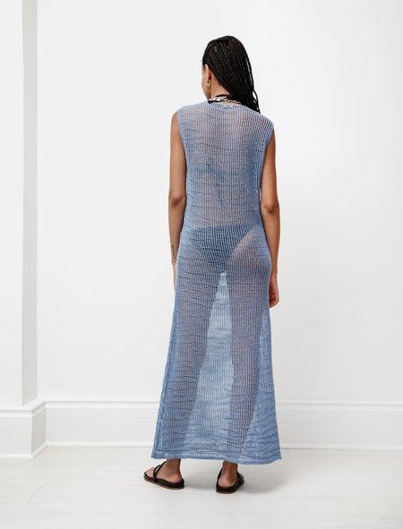 Auralee Mohair Wool Mesh Knit Dress - Light Blue