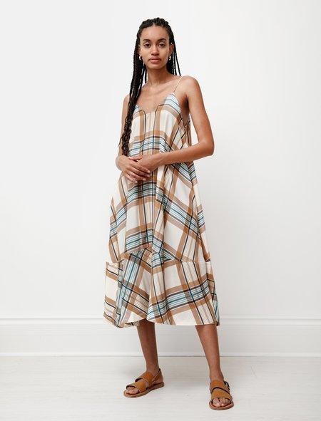 Studio Nicholson Oahu Viscose Dress - Tan/Check