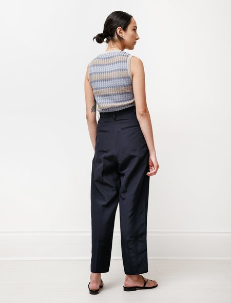 Hache Pleat Front Summer Trousers - Navy