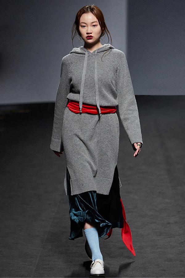 ROCKET LUNCH Hooded Knit Dress- Grey