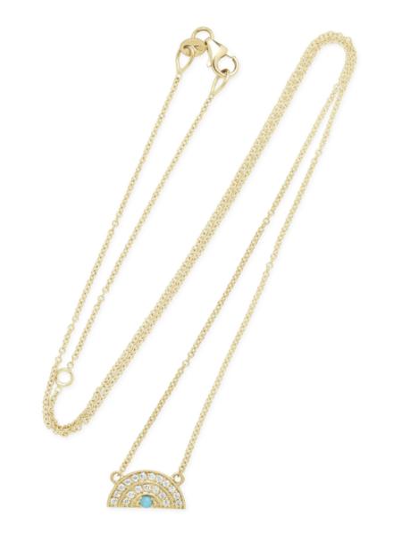 andrea fohrman mini diamond/turquoise rainbow necklace - Gold