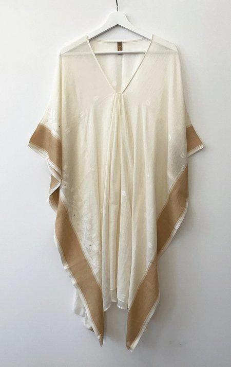 Two Tassar Caftan dress - Natural/Muted Gold border