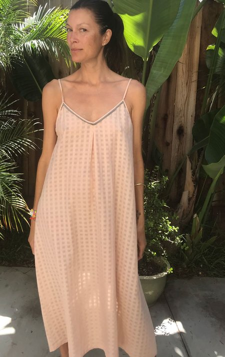 Two New York Pink Grid Slip Dress with Grosgrain ribbon