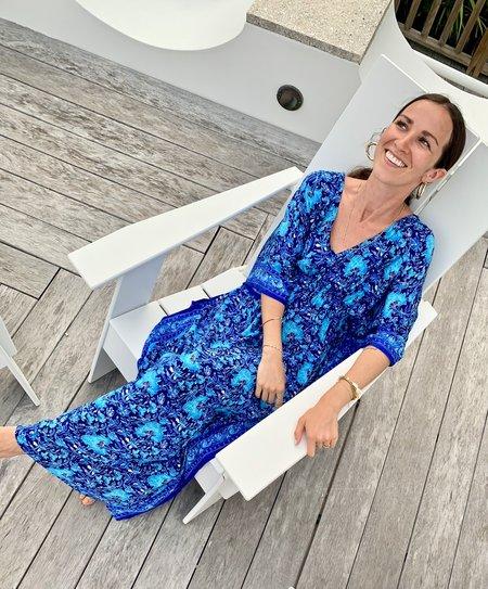 RUJUTA SHETH Marie Cinched Kaftan dress - Blue Garden Print