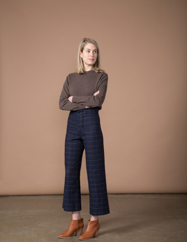 SBJ Austin Angela Pant - Navy Woven Window Pane