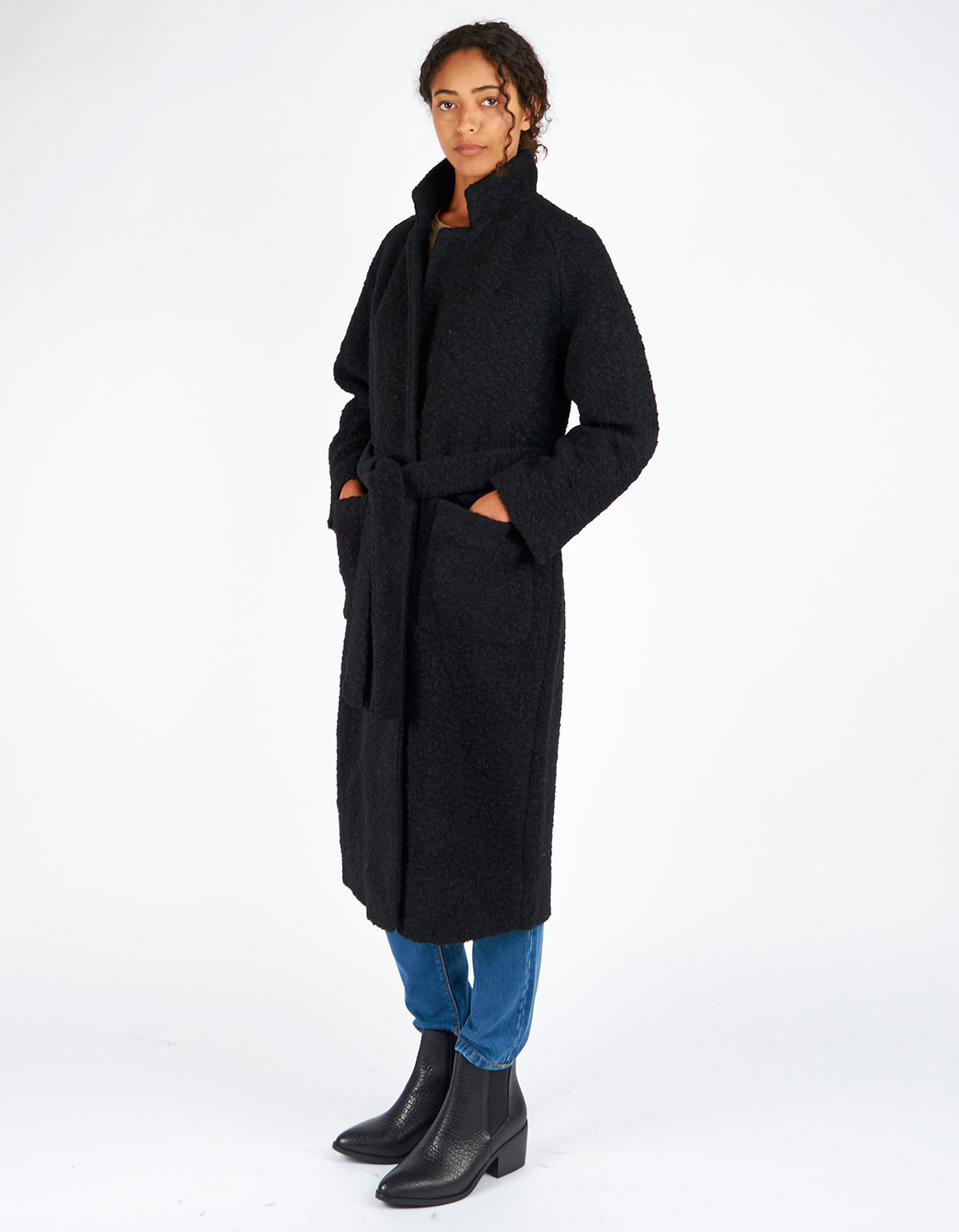 Ganni Fenn Long Wrap Coat Black Garmentory