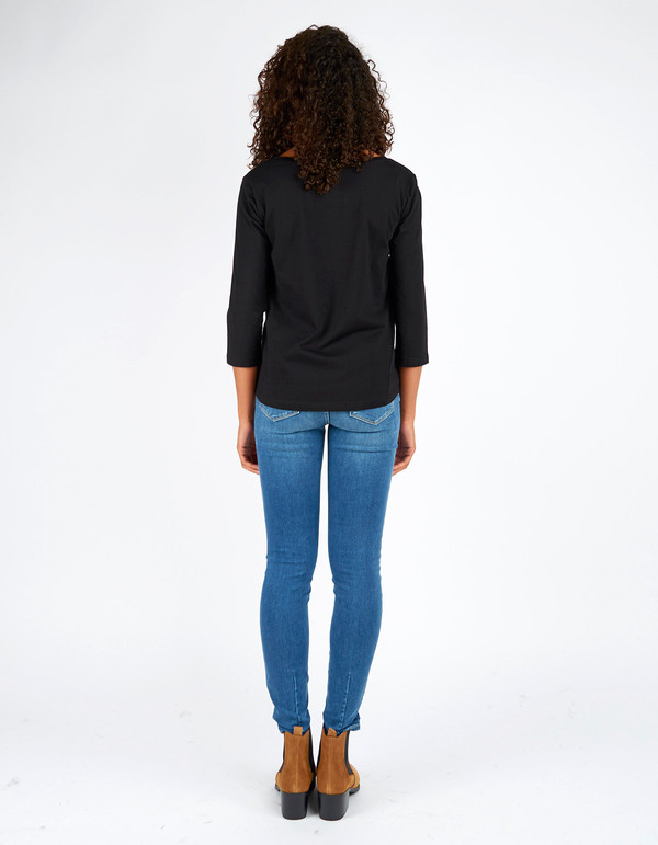 Kowtow Building Block Boat Neck Top Black