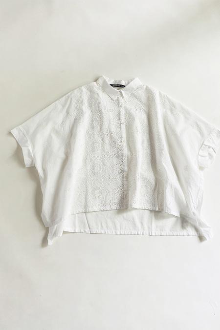 Mizuiro Drop Shoulder Eyelet Cotton Shirt - Off White