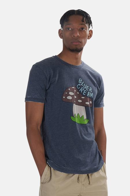 Blue&Cream x Kinetix Mushroom Graphic T-Shirt - Navy