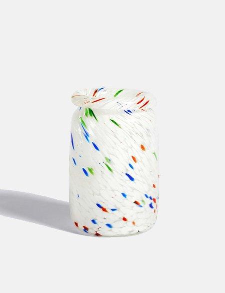 Hay Medium Splash Roll Neck Vase - White Dot