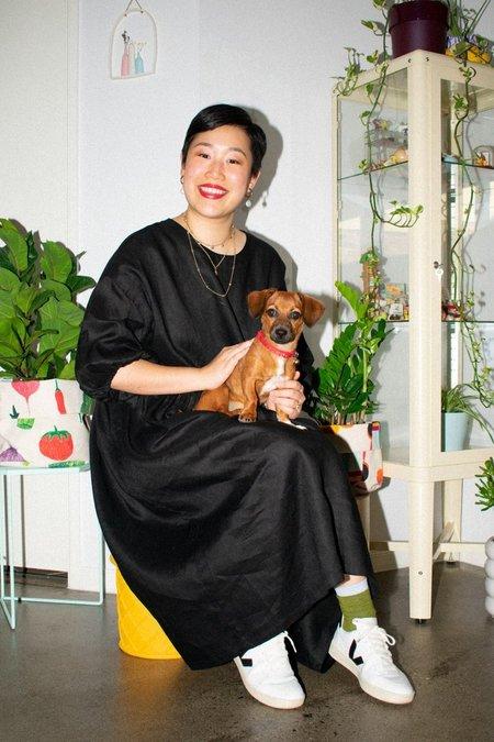 IVY NIU Linen Long Tent Dress - Black