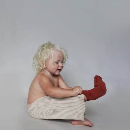Kids Summer & Storm Rib Knit Pant - Natural/Coral