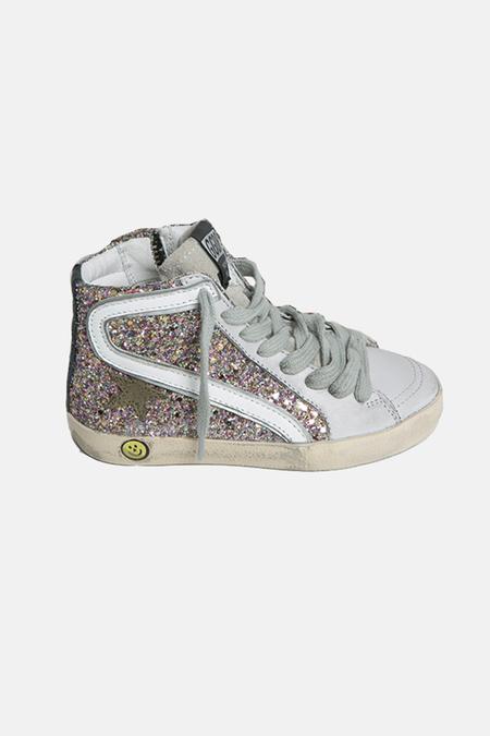kids Golden Goose Slide Sneaker Shoes - Multi Glitter/Olive Star