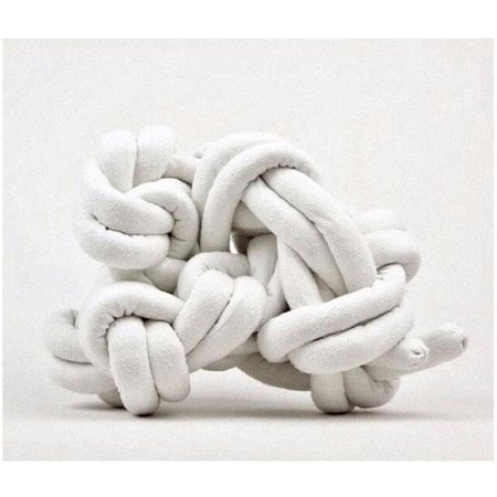 Electric Feathers Raw Silk Knot Pillow - Ivory Cream