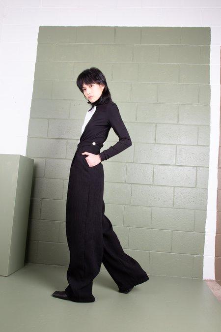 Rachel Mills Julia Pant in Crinkle Crepe - Black