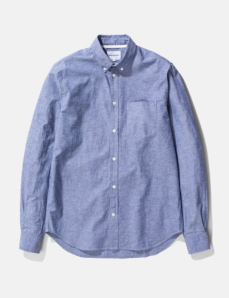 Norse Projects Osvald Cotton Linen BUtton Down Shirt - Twilight Blue