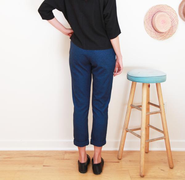 Me & Arrow Cuff Slim Pants Fuzzy Heather Navy