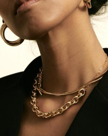 Maslo Jewelry Round Chain Necklace - Gold